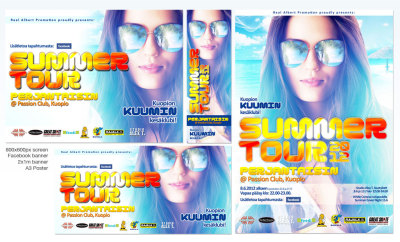 Real Albert Promotions presents: Summertour2012 @ Club Passion KuopioJuliste A3, Näyttömainos 800x600px, Facebook -banneri sekä 2x1m mainoslakana