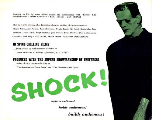 blueruins:  Classic Movie Monsters: From a Shock Theatre program guide, 1958