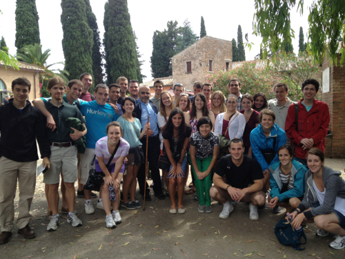 The group with our wonderful tour guide at the Catacombs of St. Callixtus outside of Rome. The catacombs start at 15 meters underground and get as deep as 30. There are over half a million tombs and about 13 miles of passageways. It was the home of at least 6 popes and at least 10 bishops. A wonderful start to the morning!