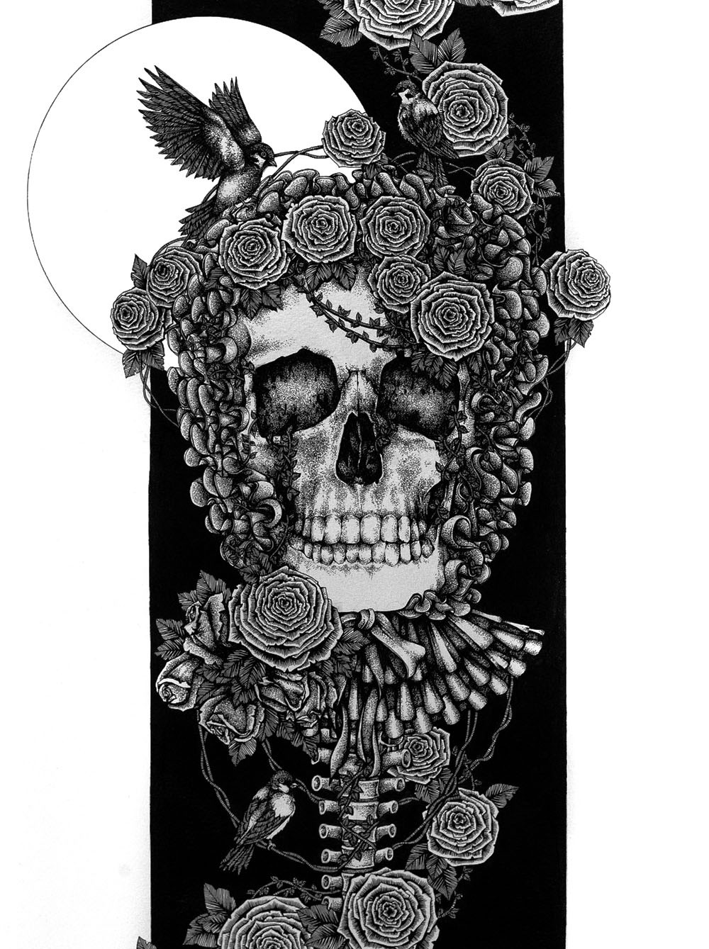 "maslov:  Purity | Pen and Ink | 22"" x 15"" For Hollow Thoughts: A Skull Show , opening on the 9th of June."