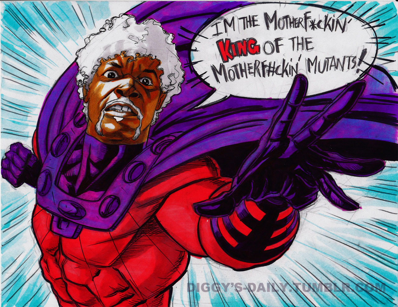"TODAY'S DAILY: SAMUEL L JACKSON AS MAGNETO  ""I wish a MOTHERF*CKER would not like Diggys Daily or this MOTHERF#CKIN' drawing!!!"" -Samuel L. Jackson 2012"