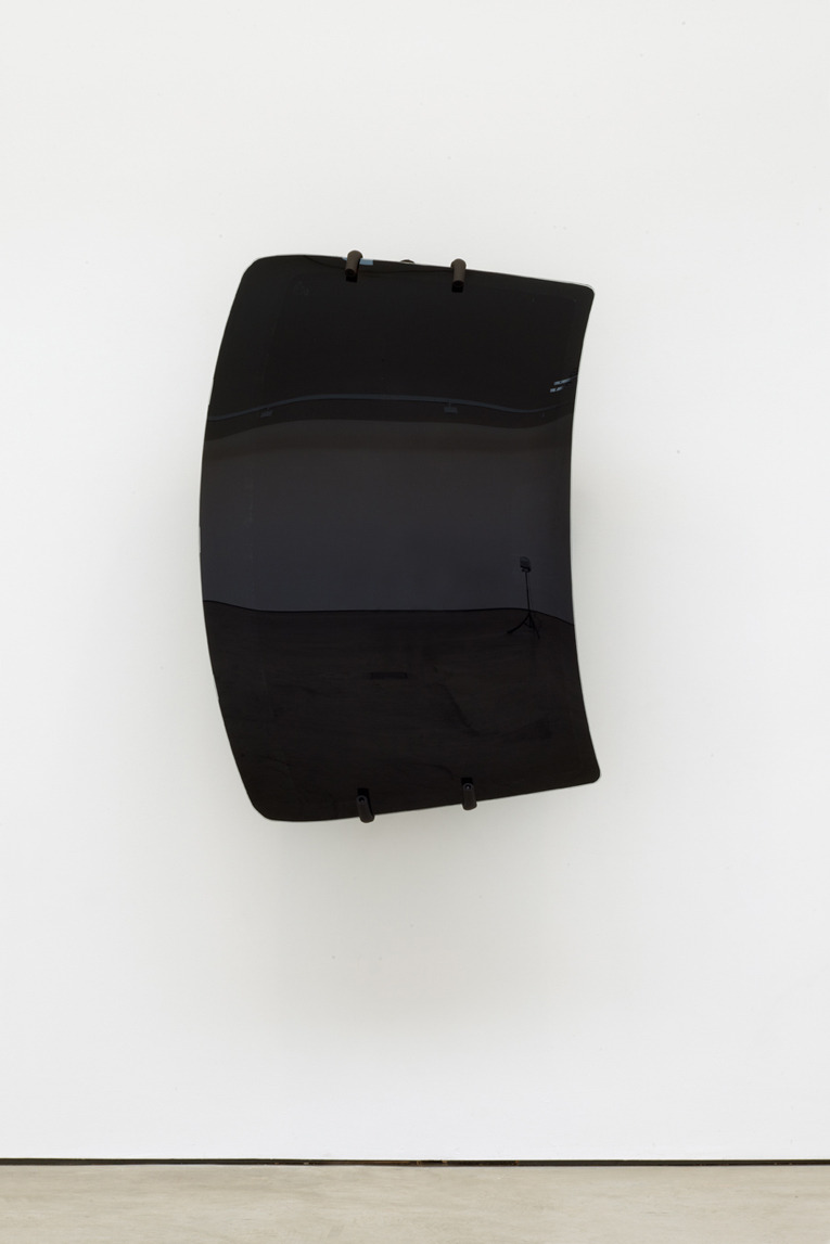 Shield#001, 2012, car windshield, bike hooks (130 × 92 × 40 cm)