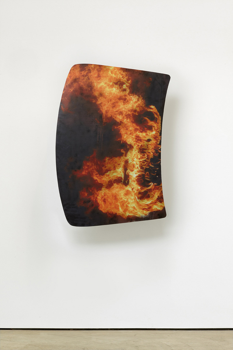 Shield#00001, 2012, Acrylic resin, acrylic paint, transfer print, iron, bike hooks (130 × 92 × 40 cm) . . .