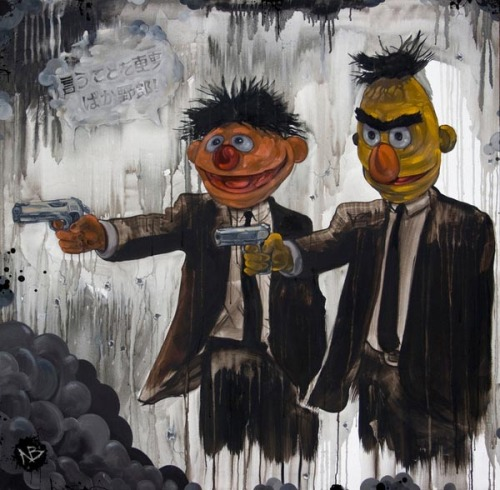 Pulp Street Sesame Street's Bert and Ernie as Jules Winnfield und Vincent Vega of Pulp Fiction. An artwork by Beery Method. The funny illustration is available as art print here. via: WE AND THE COLORFacebook // Twitter // Google+ // Pinterest