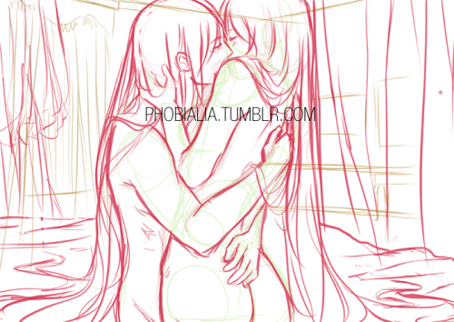 Quick sketch for my ilustration on Kenneos' hentai & yuri Vocaloid doujinshi Strawberry Milkshake to be sond on Japan Expo in Paris, France this July. Mhm, they are supposed to be Gakupo and Luka, the only ones I ship on Vocalid fandom. Kenne gave me freedom to draw any Vocaloid, sooo…Please, forgive me for the anatomy and perspective errors. I haven't slept and I don't feel really well o(╥﹏╥)o