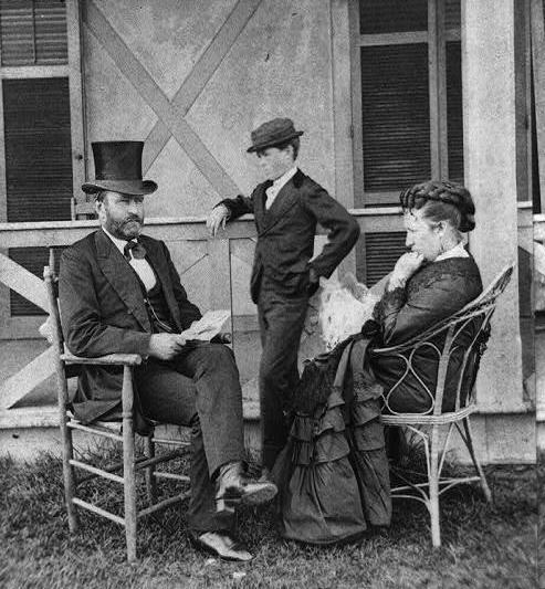 G.W. Pach, Ulysses S. Grant seated on porch with his wife, Julia, and son, Jesse, ca. 1872. Source: Library of Congress