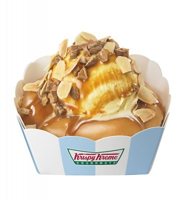 Ice cream and caramel on a Krispy Kreme donut Name says it all. Amazingly, Krispy Kreme is guilt free in Japan.More and more Krispy Kreme chain stores get built everyday in Japan, when they pretty much abandoned Canada because it was too unhealthy. Well, now we have the ultimate unhealthy donut; Caramel+Ice Cream+Krispy Kreme!..and don't forget the nuts ;)