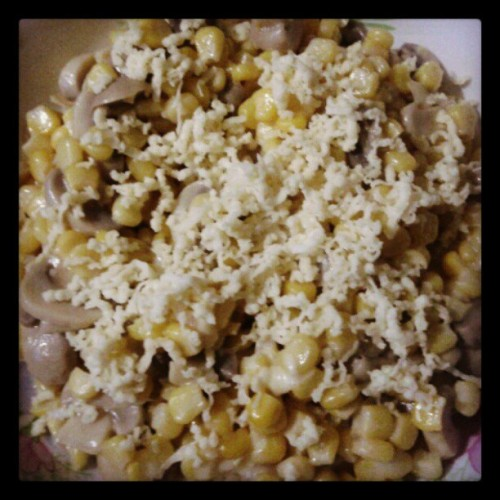 Corn, mushroom and cheese for dinner. :)) Natripan ko magluto eh. :D (Taken with instagram)