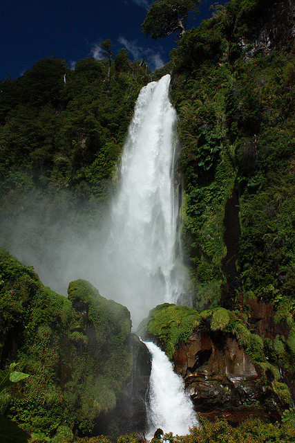 visitheworld:  Salto el Leon waterfall near Pucon, Araucania, Chile (by rgomez74).