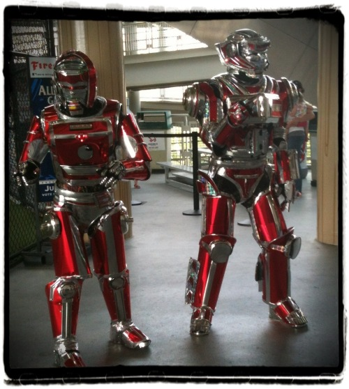 clevelandindians:  Rockin' Robots outside the Indians Kids Clubhouse.   Daft Punk's arch nemesis.
