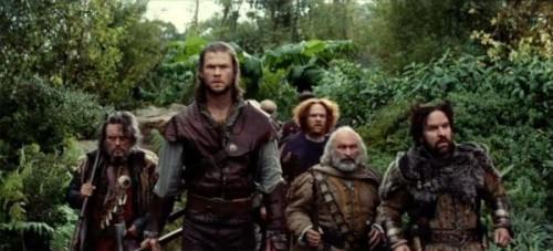 Some of the Dwarven cast, along with Hemsworth