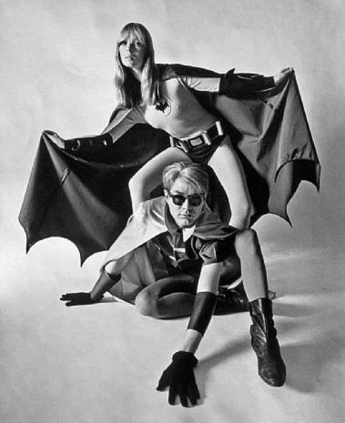 obscurityissubjective:  Nico and Andy Warhol as Batman and Robin.