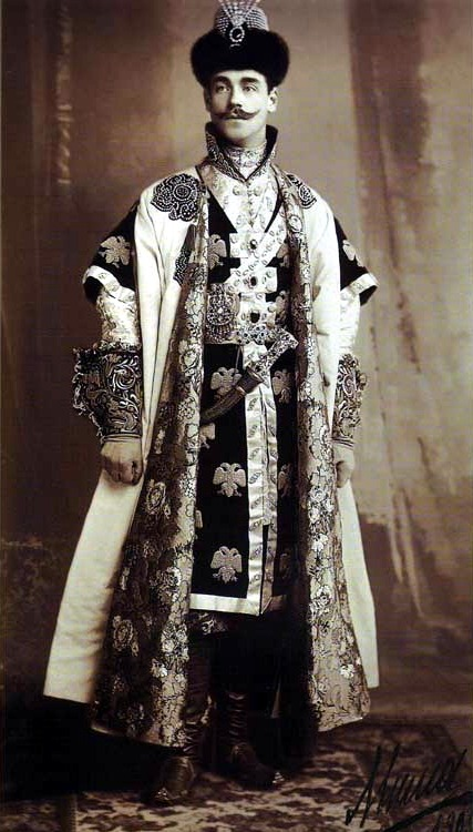 moika-palace:  His Imperial Highness Heir Apparent and Grand Duke Mikhail Alexandrovich in parade field dress of a XVII century tzarevich for the Romanov Imperial Ball, April, 1903.