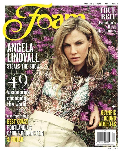 Model Angela Lindvall wearing Tess Giberson Tulle Skirt on the cover of Foam Magazine!