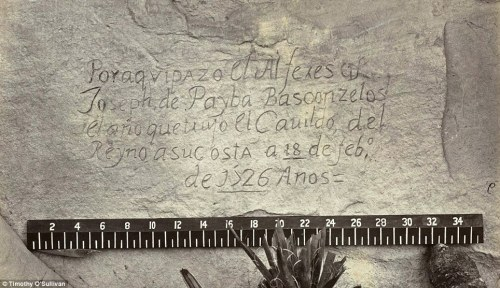 "A Spanish inscription from 1726. This close-up view of the inscription carved in the sandstone at Inscription Rock (El Morro National Monument), New Mexico reads, in English: ""By this place passed Ensign Don Joseph de Payba Basconzelos, in the year in which he held the Council of the Kingdom at his expense, on the 18th of February, in the year 1726""Read more: http://www.dailymail.co.uk/news/article-2149899/The-American-West-youve-seen-Amazing-19th-century-pictures-landscape-chartered-time.html#ixzz1wpdZx22i"