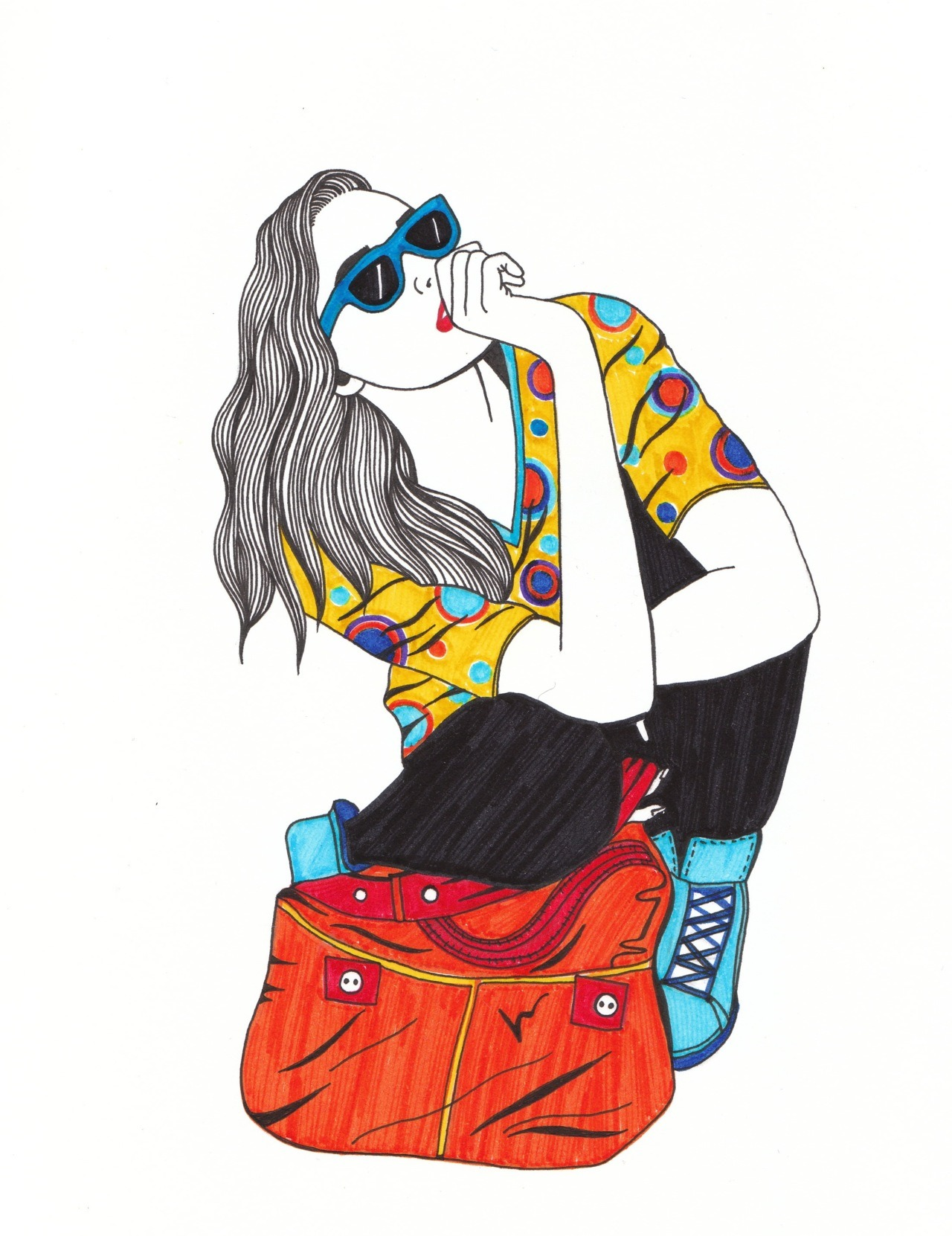one of my felt tip fashion illustratios