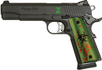 Due to the massive amount of zombie stuff going around online, here's a Sig Sauer zombie 1911