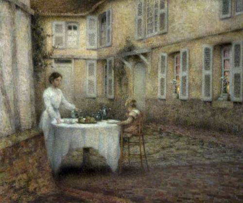 blastedheath:  Henri Le Sidaner (French, 1862-1939) Le gouter au jardin 1903. Oil on canvas. National Museums, Northern Ireland.