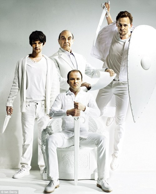 empyreansun:  Ben Whishaw, Suchet, Rory Kinnear and Tom Hiddleston for Live Magazine Cover This was what I was talking about in the earlier post. Doesn't Tom look amazing in white?  Does anyone have links to the article for this magazine, because my parents thought I'd read it and threw it out but I hadn't :'(