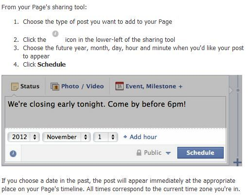 Facebook Pages: Scheduling Posts & Multi-level Admin Permissions Facebook has added two new features that will directly affect how brands admin their respective pages—the ability to schedule future posts and 5 different levels of admin permissions. Scheduling future posts can be done using the same path that you currently use to backdate posts and can be scheduled up to 6 months in advance at 15-minute intervals. However, in order to utilize the scheduling feature your page must have a manually entered founded date. The 5 admin permission levels consist of manager, content creator, moderator, advertiser, and insights analyst.  You can find an easy to follow outline of each role in the Facebook Help Center here. You can read the full article here.