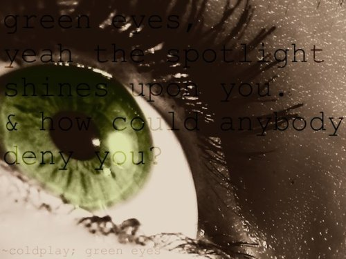 Edited photo. Lyrics from a Coldplay song. Reflection of light in my eye. Sidelighting. Rule of thirds.
