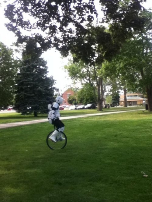 Scout Trooper Replaces Speeder Bike with Unicycle Knowing this guy he's going to run into a bunch of trees on that thing.