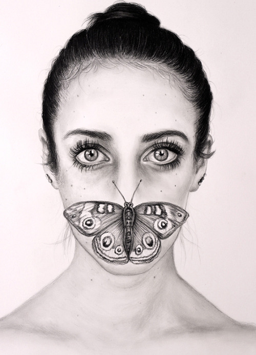 "ssdmmfr:  Artist: Matt Doust ""Untitled (Butterfly)"" Graphite on Paper, 25"" x 34"" / 64 cm x 86 cm 2012"