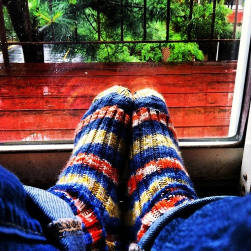 So cold and damp today I need a pair of hand knit socks. #fiberfollies #knitting #iphone #fiberfun #coldsnddreary #summer  (Taken with instagram)