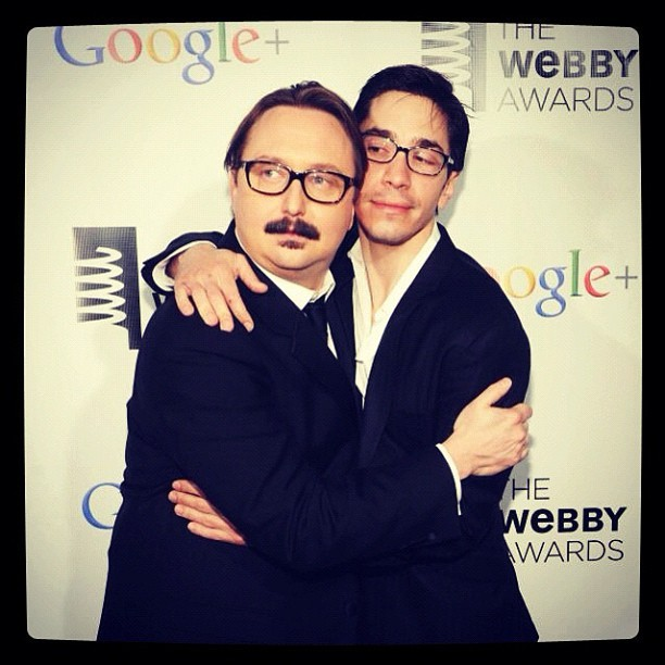 Monday just got better by looking at this pic of John @hodgman & Justin Long hugging at The #Webby Awards #yourewelcome (Taken with instagram)