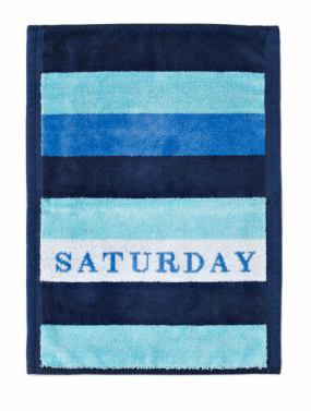 This Saturday sport towel (perfect for a challenging afternoon game of tennis) is one of the many picturesque beach essentials from Chance. Towel, $28, chanceco.com