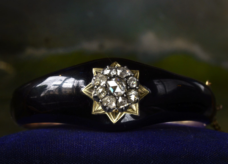 1850s Rose Cut Diamond & Black Enamel Bracelet, 12K (in the online shop)