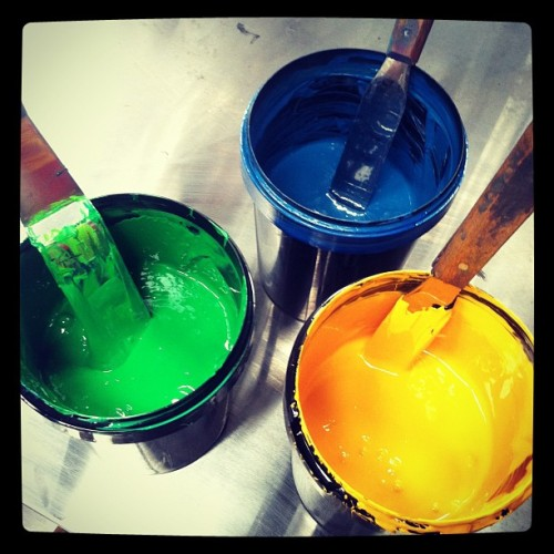 Colours #merchasylum #screenprinting #screenprint #cardiff #ink  (Taken with Instagram at Merch Asylum - Screenprinting Studio)