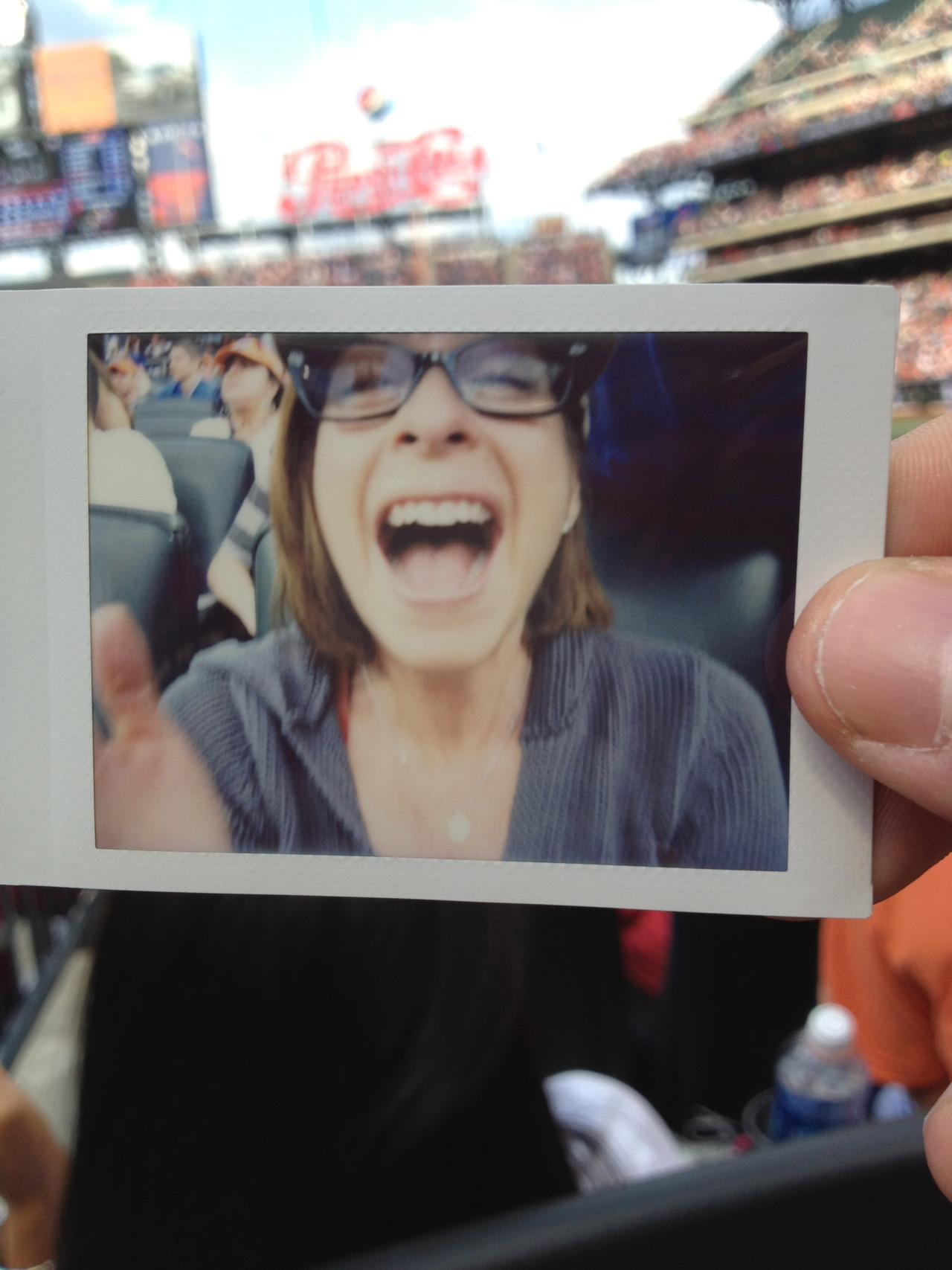 My mother enjoying herself at a Mets game