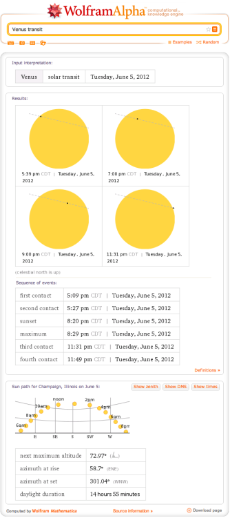 Learn more about the transit of Venus happening tomorrow with Wolfram|Alpha.