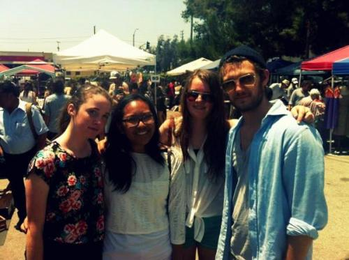 Alex Pettyfer with fans at the Flea Market on Melrose Avenue in West Hollywood, yesterday