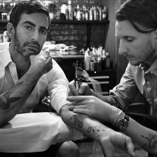 marcjacobs:  Womenswear Designer of the Year nominee @marcjacobs & tattooer @scampbell333 via @cfda #CFDAawards (Taken with instagram)