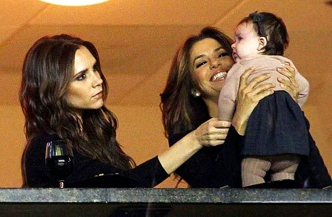 "David and Victoria Beckham have chosen Eva Longoria as the godmother of Baby Harper. (I hope they know she's not even on television anymore.) Eva said of her goddaughter, """"She's so fashionable, the most fashionable little girl around. All I keep thinking is the closet which she is going to inherit."" Harper Beckham, most fashionable? Please, as if. That child still isn't consistently wearing shoes or nail polish. In the same interview, though, Eva called Harper ""a chunky monkey."" At least she's getting some of it right. Harper Beckham needs a spin class more than Willow Smith needs a punch in the face."