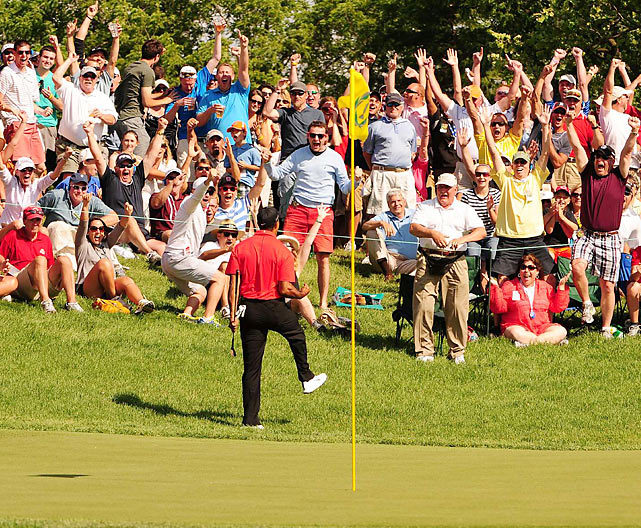 Tiger Woods pumps his fist after chipping in for birdie on the 16th hole during the final round of the 2012 Memorial Tournament in Dublin, Ohio. The shot, one of the most amazing of Woods' career, sparked him as he won his record 73rd career victory and fifth at the Memorial Tournament. (Fred Vuich/SI) MORFIT: Woods wins Memorial with vintage chip-in on 16ROSENBERG: Tiger slowly proving his skeptics wrongREITERMAN: Tiger's chip gets Nicklaus' endorsement