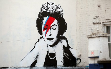 so awesome!!! huffpoststyle:  Diamond (Dogs) Jubilee: the queen as Ziggy Stardust, which MIGHT be a Banksy portrait, on Upper Maudlin Street in London. (via)
