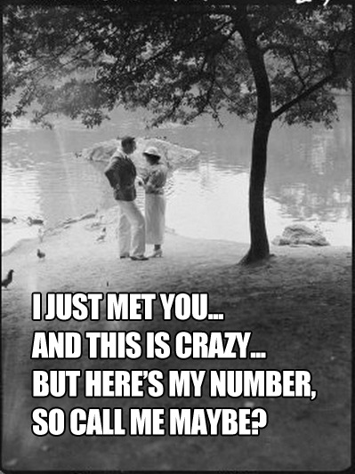 i just met you… and this is crazy… but here's my number, so call me maybe?