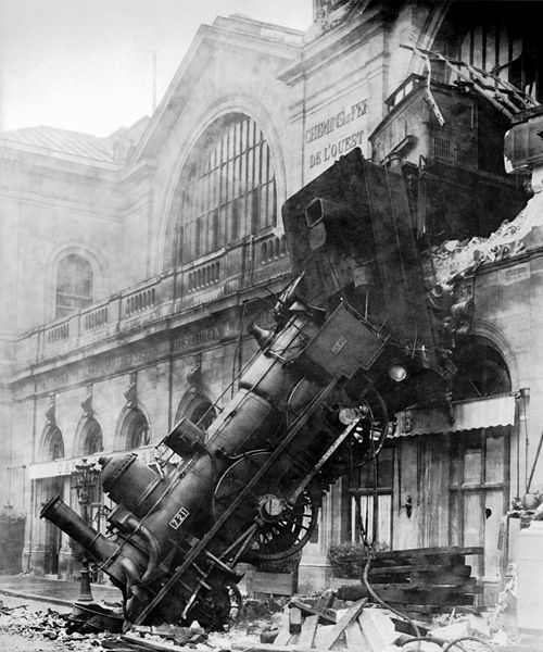 """Train wreck at Montparnasse Station, at Place de Rennes side (now Place du 18 Juin 1940), Paris, France, 1895.""  Uhh, today is mostly a train travel day for us. Hope to arrive in Paris with the train fully inside the station."