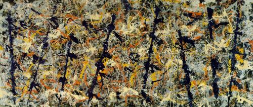 Jackson Pollock- Blue Poles (Number 11) [1952]  More properly known as Blue Poles: Number 11, this painting is considered Pollock's most important work. In 1973, it was purchased at auction for $2 million dollars, which at the time was the highest price ever paid for a painting at auction. At the time of sale the art world was typified by a conservative climate, and the high purchase price, as well as the painting itself, created a political and media scandal, which was capitalized upon by the National Gallery of Australia, who bought the painting. It is now one of the most popular exhibits at the Gallery, and has risen in price to an estimated $180 million.