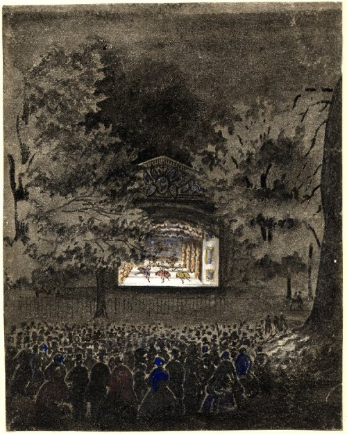 moniledebeaute: (Anonymous), Ballet Theatre, Vauxhall Gardens; a stage set amid large trees, an audience standing and watching the performance. 1840-1845. Brush drawing in grey wash, touched with coloured chalks. British Museum