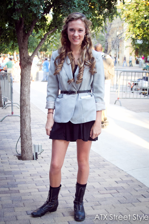 Makenzie Reynolds, 19Spotted on: 2nd StreetOccupation: StudentBlazer: Vintage (her grandmother's)Dress: Wal-MartBoots: TargetBelt: Vintage