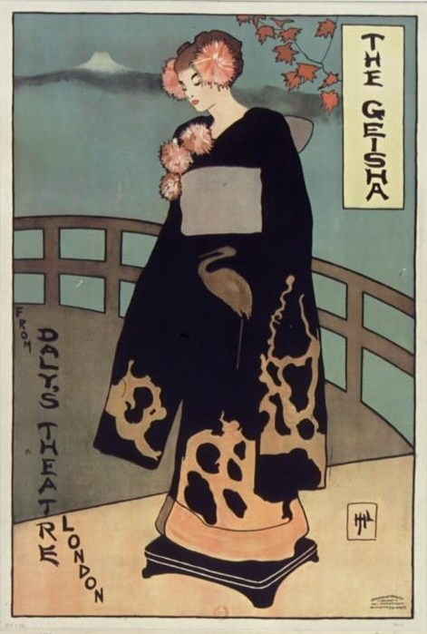 moniledebeaute:  The Geisha from Daly's Theatre London, affiche, auteur non identifié, éd. David Allen & Sons, Belfast, 1895, lithogr. en couleur, BnF.