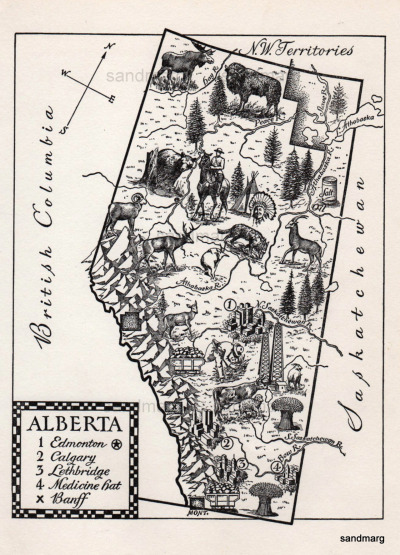 sandmarg:  1944 Illustrated Map of Alberta