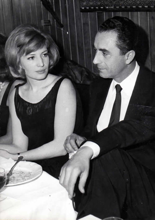 the60livehere:  Monica Vitti & Michelangelo Antonioni in Paris, 1964