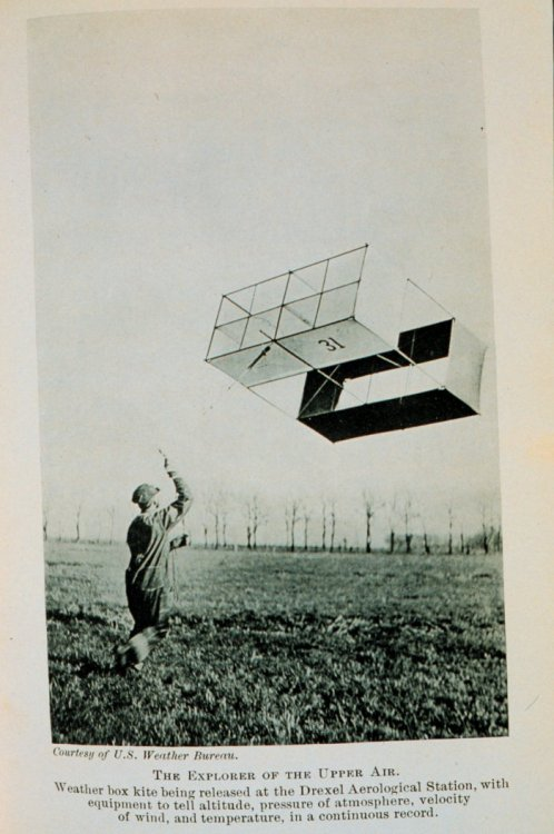 Early 1900's photographs of a box kite and the meteograph attached to it to measure weather conditions aloft. (via Photos)
