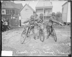 Three Boy Scouts on bicycles during Field Day at Comiskey Park, c. June 19, 1915. Photograph from the Chicago Daily News.  Want a copy of this photo?  > Visit our Rights and Reproductions Department and give them this number: DN-0064711. Connect with the Museum