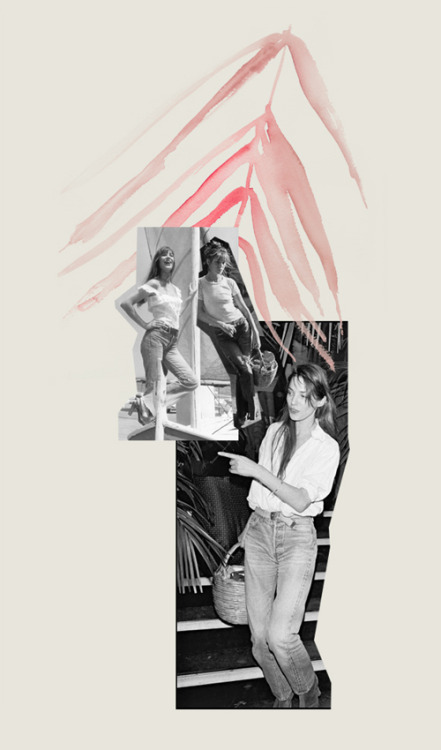 This weeks collage, Jane Birkin White T-shirt + Jeans Blog Post: Effortless « Illustration and Collage by Decade Diary